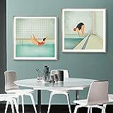 Abstrakte Nette Schwimmen Mädchen Tauchen Mädchen Poster