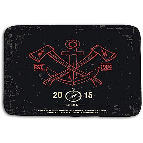 SESILY Tapis de Porte Tapis Anchor Ed Axes Design Elements Print Tapis de Bain