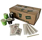 AURACAFFE' Kit Accessori caffè- 600 Bicchieri in Carta per caffè, Biodegradabili + 600 Palette in bambù Bio + 600 Bustine di Zucchero Extra Fino