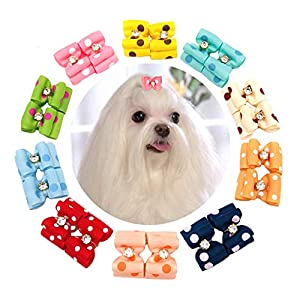 JpGdn 10Pairs/20pcs Dog Hair Bows with Rhinestone Polka Dots Hair Bow Ties for Small Medium Puppy Doggy Cat Rabbit Pets Animals Hair Bowknot with Rubber Band Grooming Accessories Attachment