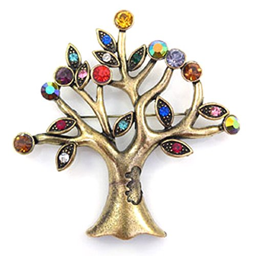 PYNK Jewellery Brooches Store Antique Gold and Multi Crystal Tree of Life Xmas Brooch
