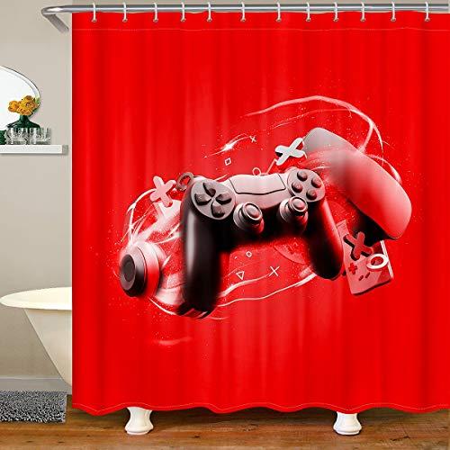Gaming Shower Curtain with Hooks Gamepad Waterproof Shower Curtains for Boys Teens Children Girls Kids Video Games Bathroom Shower Curtain Gamer Headset Game Controller Bath Curtain Luxury 180x210cm