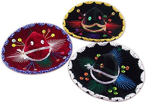 Decorative Mini Charro Sombrero, Mexican Mariachi hat - Set of 3 (6')