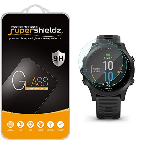 (2 Pack) Supershieldz Designed for Garmin Forerunner 945 Tempered Glass Screen Protector, 0.33mm, Anti Scratch, Bubble Free