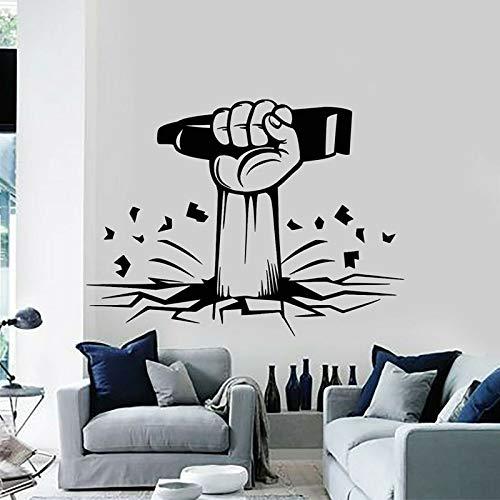 wZUN Barbershop Razor Men Hand Haircut Shaving Vinyl Wall Decal Removable Self Adhesive Wallpaper Mural 84X63cm