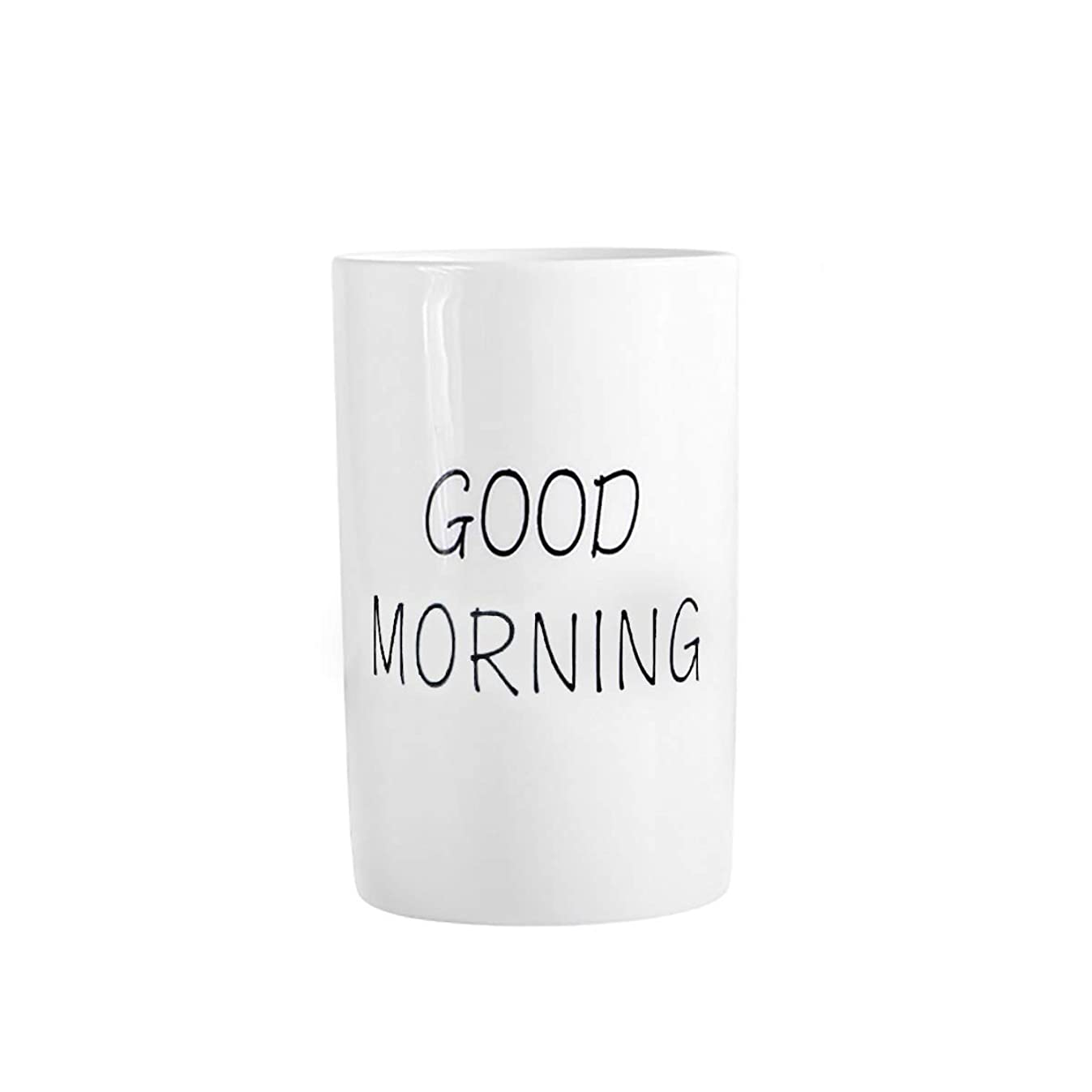 Ceramic Tumbler Cup for Bathroom Toothbrush,Water,Milk,Toothpaste (Good Morning Cup)