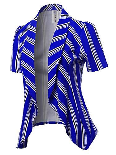 Classic Short Sleeve Blazer Stripe Royal Blue L