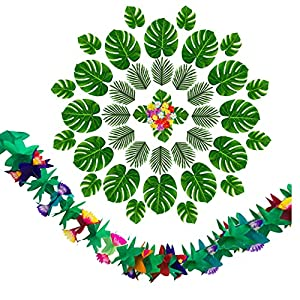 65Pcs Tropical Faux Leaves Artificial Palm Leaves Without Stems Hibiscus Flowers for Safari Jungle Hawaiian Luau Party Table Decoration Wedding Birthday Theme Party