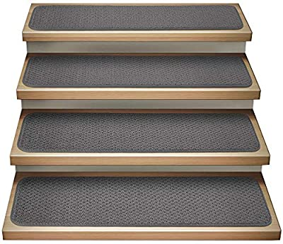 House, Home and More Set of 15 Attachable Indoor Carpet Stair Treads - Gray - 8 Inches X 30 Inches