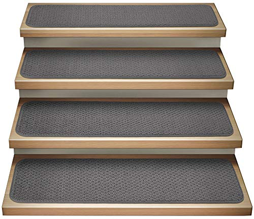 House, Home and More Set of 15 Attachable Indoor Carpet Stair Treads - Gray - 9 Inches X 36 Inches