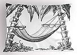 ABAKUHAUS Barco de la Vendimia Funda de Almohada, Hamaca de Las Palmeras, Decorativa Estampada Tamaño Standard Dos Plazas, 65 X 50 cm, Gris carbón Negro