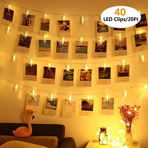 Vennke 40 LED Photo Clips String Lights/Holder, Battery & USB Powered Design with Free Cable, Fairy Twinkle Wedding Party Christmas Home Decor Lights for Hanging Photos Pictures Cards Artwork(20 Ft)