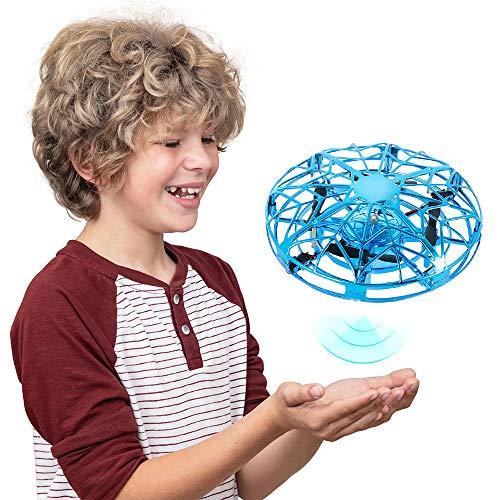 Beenle-Icey Mini UFO Drone Palla Volante 4-12, Giocattolo Volante Tecnologia in Bilico con Sensore a Infrarossi Ricarica USB Luci a LED Rotazione di 360 ° Regali Festa Compleanno Natale (Blu)