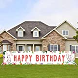 Large Bunny Happy Birthday Sign, Peter Rabbit Birthday Banner, Easter Theme Bday Decoration & Pink Floral Party Supplies for Girls(9.8*1.6 Feet)