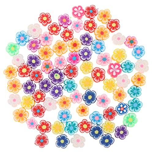 VORCOOL 80 Cuentas de Arcilla Planas Redondas Cuentas Espaciadoras DIY Cuentas de Arcilla de Corazón de Flores Cuentas de Arcilla Multicolor DIY Collar de Pulsera para Niños Adultos