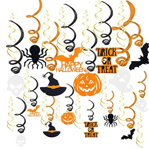 Amosfun Halloween-Dekoration zum Aufhängen, Wirbel, Fledermaus, Spinnen, Kürbiss, 30 Stück
