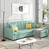 POVISON Reversible Sectional Sofa Sleeper, 82'' Wide Sectional Couch Pull-Out Sofa Bed L-Shape Upholstered Sofa Bed with Storage Chaise for Living Room (Green)