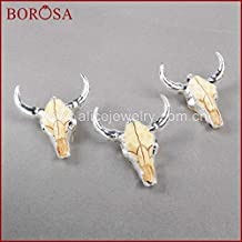 Davitu Silver Color Resin Longhorn Horn Cattle Pendants,Wholesale Buffalo Bull Fashion Pendant for Necklace Jewelry S0842