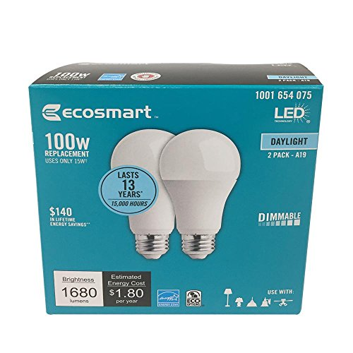 100W Equivalent Daylight A19 Energy Star and Dimmable LED Light Bulb (2-Pack) (Packaging may vary)