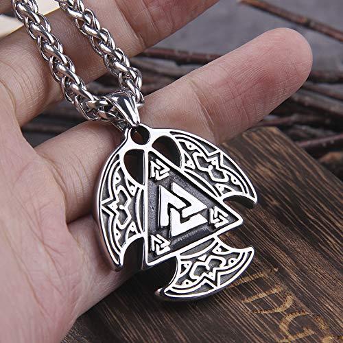 Norse Warrior Odin - Collar con Colgante De Símbolo, Vikingo para Hombre, Acero Inoxidable Valknut Warrior Nudo, Joyería con Encanto de Calidad, Amuleto de Regalo Celta Pagano Vikingo
