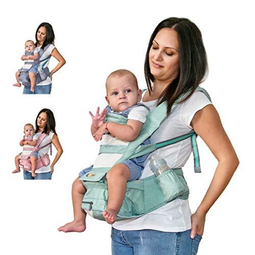 Marsupio Neonati Ergonomico 0 36 mesi - Con Tasca Laterale e Cappuccio Per Protezione Neonati - Marsupio Bambino in Tessuto Traspirante - Marsupio porta bimbi