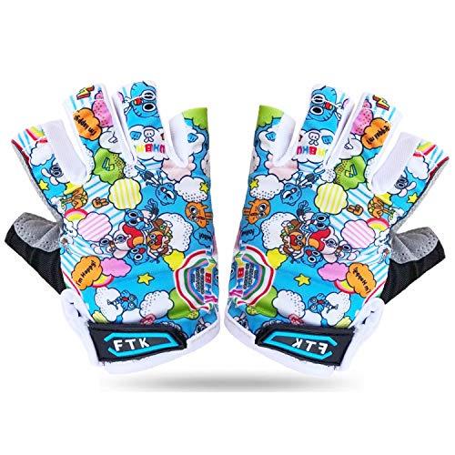 Fahrradhandschuhe Kinder MTB Jungen Mädchen 2-11 Jahre Roller Skate Sport Handschuhe Gel rutschfest (Himmelblau, XL)