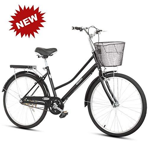 YLCJ Fahrrad Single Speed 24/26 Zoll Männer und Frauen Licht Erwachsene Retro Pendler Auto Fahrrad, schwarz, 24 Zoll