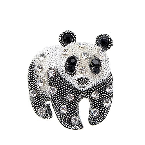 DFHTR Broche De Panda De Color Blanco Y Negro Broche De Diseño Animal De Moda Unisex Broches De Joyería De Diamantes De Imitación
