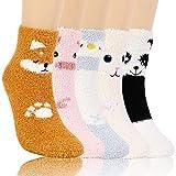 QKURT 5 pares de calcetines esponjosos de animales, novedosos calcetines divertidos y lindos de animales peludos calcetines de microfibra súper suaves para dormir para el hogar y el sueño