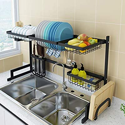 Dish Drying Rack Over Sink, Drainer Shelf for Kitchen Drying Rack Organizer Supplies Storage Counter Kitchen Space Saver Must Have Utensils Holder Stainless Steel (Sink Size?32 1/2 Inch, Black) by COVAODQ