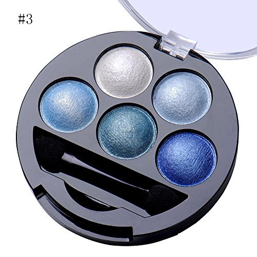 Newest trent 5 Colors Make up Eyeshadow Shimmer Eye Highlight Palette & Cosmetic Brush Makeup Set...