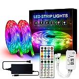 YMXLJJ 5050 RGB LED-Lichtbänder, LED-Licht mit Bluetooth-Controller, Farbwechselnde Musiksynchronisationslichtstreifen mit Musik-Controller, LED-Bandlicht für TV-Party im Schlafzimmer,A44 11