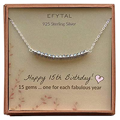EFYTAL 15th Birthday for gifts for Her, Girls Sterling Silver Necklace, 15 Beads for 15 Year Old Girl, Quinceanera Gift