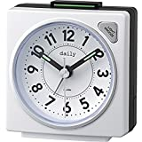リズム時計 目覚まし時計 アナログ 小さい かわいい デイリーRA27 連続秒針 ライト 付き カラフル 時計 白 DAILY (デイリー) 8REA27DN03