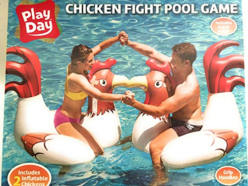 """Play Day Chicken Fight Game With 2 Inflatable Chickens for Swimming Pool Fun, For Adults & Children, Measures 54.5"""" x 39.5"""" x 40"""""""
