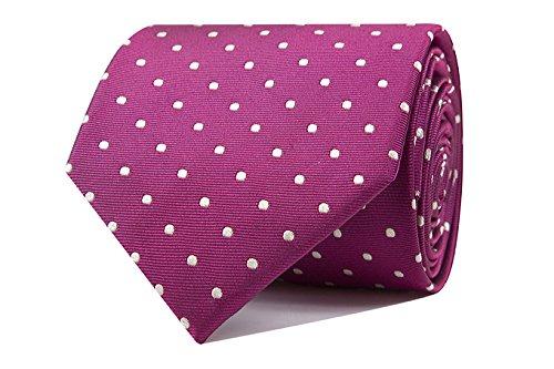 Sologemelos - Cravate Pois - Rose 100% soie naturelle - Hommes - Taille Unique - Confection artesanale Made In Italy