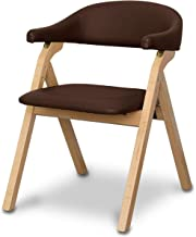 ottostyle.jp Folding Dining Chair/Nursing Chair [Natural x Dark Brown] with Armrests, Compact Storage, Lightweight
