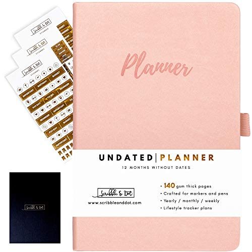 Planner Diary - Weekly Planner - Undated Daily Diary - A5 Thick 140gsm Paper Organiser - NO Dates Start Anytime - Weekly/Monthly/Year Spread - Bound by Hand -UK Brand