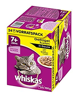 whiskas 7 + Nourriture pour Chat – Choix de volaille en Sauce – Nourriture pour Chat de qualité supérieure à partir de la 7ème année de Vie et de l'âge.