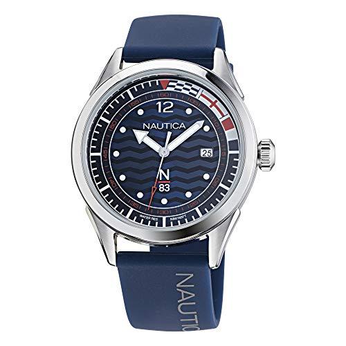 Nautica Correa de silicona de cuarzo para hombre, azul, 20 reloj casual (Modelo: NAPHBF012)