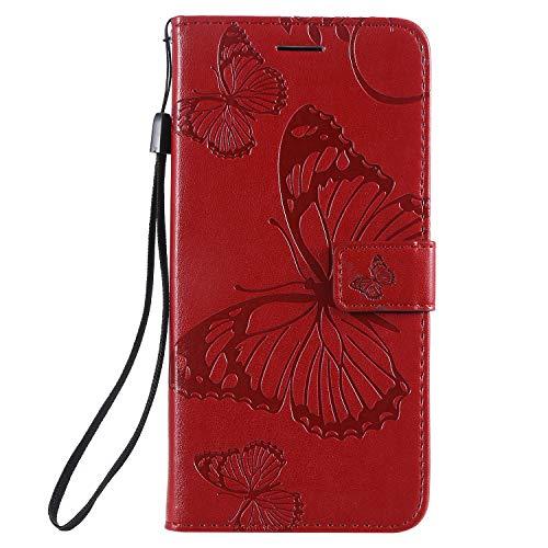 Jeewi Hülle für OnePlus 7 / 6T Hülle Handyhülle [Standfunktion] [Kartenfach] [Magnetverschluss] Tasche Etui Schutzhülle lederhülle klapphülle für OnePlus7 / Oneplus6T - JEKT042023 Rot