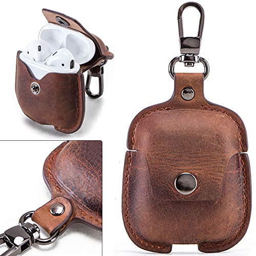 for AirPods Case, Personalized Genuine Leather Portable Protective Case/Cover Shockproof with Loss...