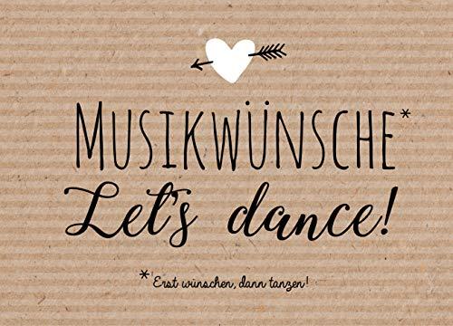 Hochzeit 50 Musikwunschkarten A7 Musikwunsch Hochzeit Hochzeitsfeier 10,5 x 7,4cm Kraftpapier