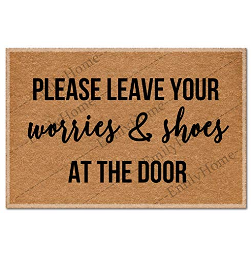 Custom Please Leave Your Worries & Shoes at Funny DoorMat Welcome Indoor Mats Personalized Novelty Entry Rug 23.6 x15.7