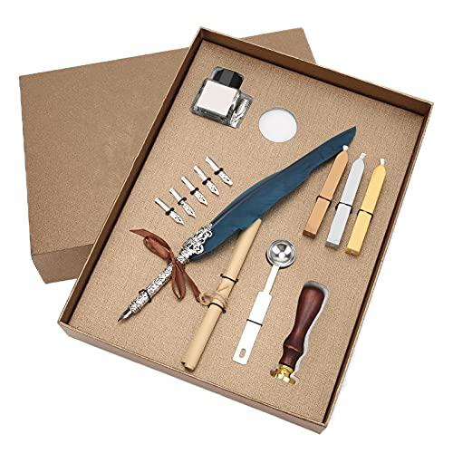 Juego de bolígrafos de plumas Pluma de pluma vintage Pluma de inmersión de tinta Pluma de caligrafía inglesa Pluma de escritura con sello de cera Juego de sellos(Armada)