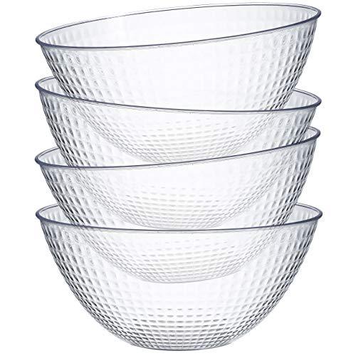Cuencos de plástico para servir – 4 unidades – aperitivos o ensaladeras, 8oz – Ideal para fiestas transparentes