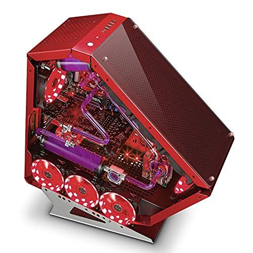 Caja De La Computadora Puerto USB Frontal Caja De Juegos De PC De Torre Media Compacta Paneles De Vidrio Templado - Sistema De Administración De Cables - Preparado para Refrigeración por Agua
