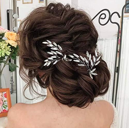 Fairvir Horquillas para el pelo de novia con cristales dorados para novias,...