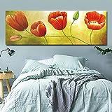 N / A Pintura sin Marco Lienzo Pintura al óleo Rojo Amapola Flor Brote Cartel Pintura al óleo Fresca Sala de Estar Dormitorio decoración Pintura ZGQ6033 50X150cm