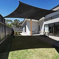 日除け ドーム 雨よけ LiangJing ブラック 長方形 6x6.5m クールシェード サンシェード 日よけ シェード オーニング 雨避け オーニング テント 防風 庭、プール、中庭、屋外の日よけに最適 シェード セイル 取り付け金具